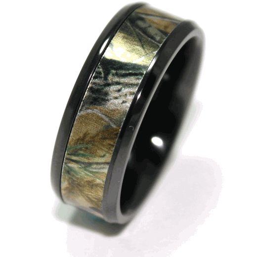 Realtree Wedding Rings: Men's Black Camo Wedding Ring