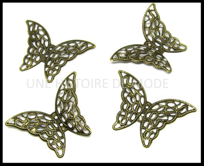 4 embellissements papillon en métal filigrane bronze ( boutons papillon filigrane ) -E5