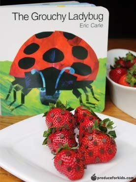 The Grouchy Ladybug Snack - No need to be grouchy anymore! This easy and yummy snack is a great way to encourage fine-motor skills in little ones while enjoying the adventure of a rather ill-behaved little bug in Eric Carle's classic, The Grouchy Ladybug. #PowerYourLunchbox @Produce for Kids