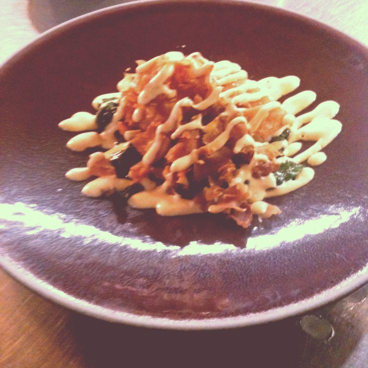 Gebakken langoustine met spinazie, artisjok en rouille