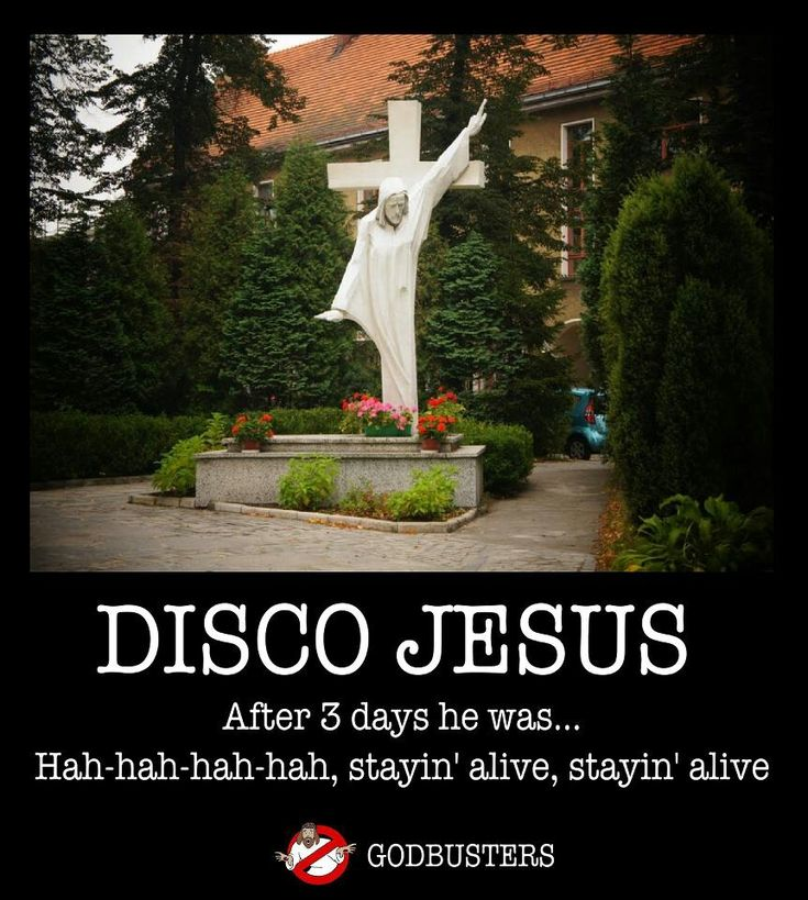 "This picture shows Jesus doing the disco on the cross. This image shows how pop culture focuses on music than the actual meaning of Jesus on the cross. People tend to try and make light on certain situations. Jesus died for us on the cross, while others are making jokes about him ""stayin alive""."