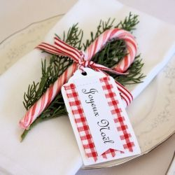 Table setting ideas for Christmas.  I might do this when I wrap gifts too!