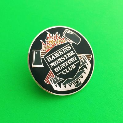 Hawkins Monster Hunting Club Stranger Things Enamel Lapel Pin Badge | hand  over your fairy cakes