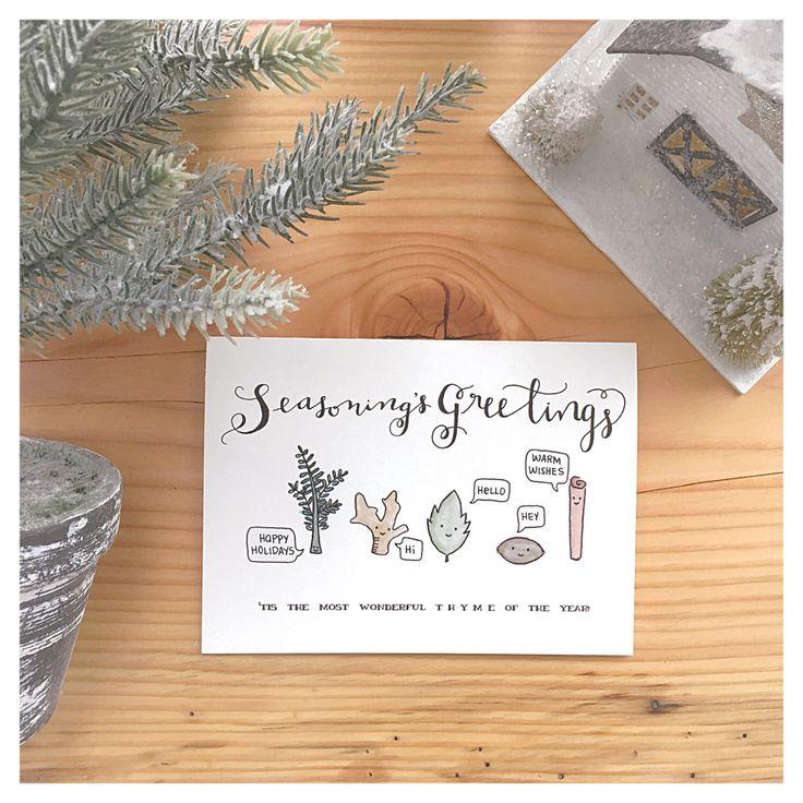 SEASONINGS GREETINGS // seasons greetings, holiday card, punny card, christmas pun, christmas pun card, funny christmas card, holiday pun by kenziecardco on Etsy https://www.etsy.com/ca/listing/489049321/seasonings-greetings-seasons-greetings