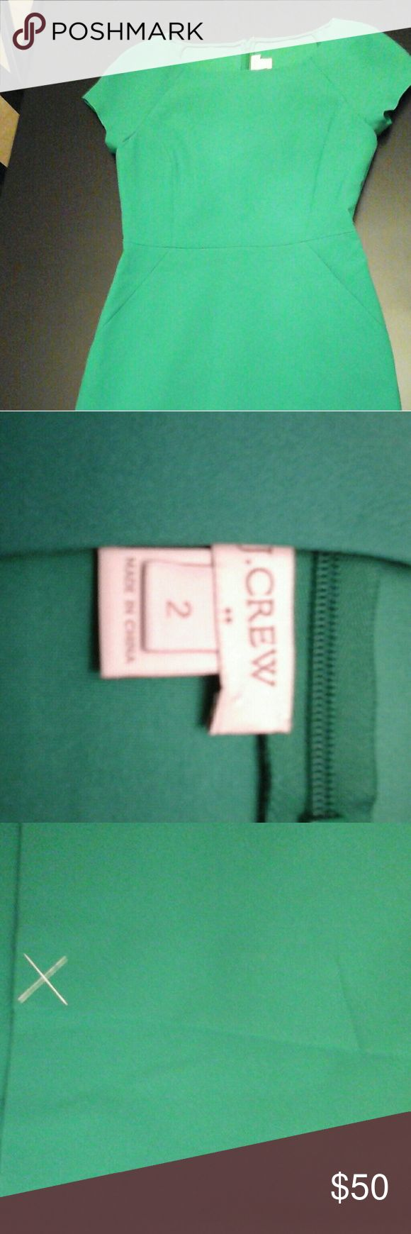 J. Crew Kelly Green Dress sz 2 NWOT This beautiful green dress is new without tags.  Stitching still in slit where this has never been worn. J. Crew Dresses Midi