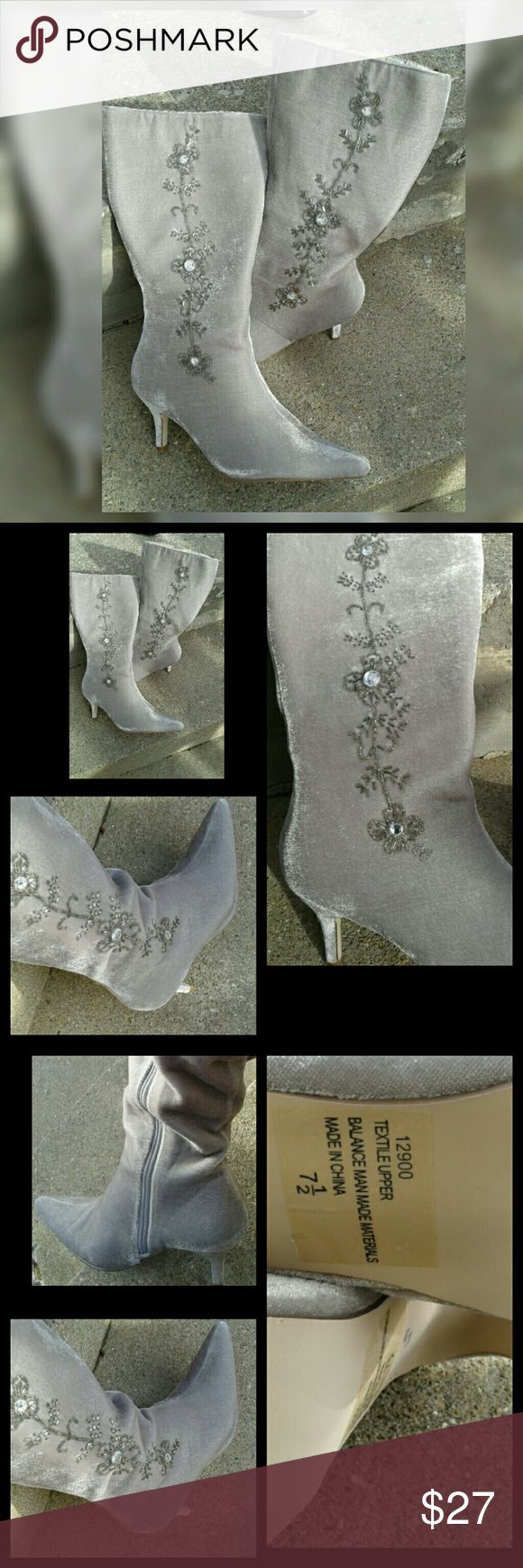 """Velvet Embroidered Pointy Toe Boot New no box! Simply Gorgeous boots! Gray Velvet with embroidery and rhinestones! 3"""" heel, pointy toe. SIZE 7.5. overall height of boot is 14.5 inches. Elastic at top for a little extra stretch. Top measures 7 inches elastic may allow for an extra inch. Ankle measures exactly 4.5 inches. Full side zip. These are in new unworn vintage condition. No stains but the do smell like perfume, from previous owners storage.  Questions & Offers welcomed here! Newport…"""