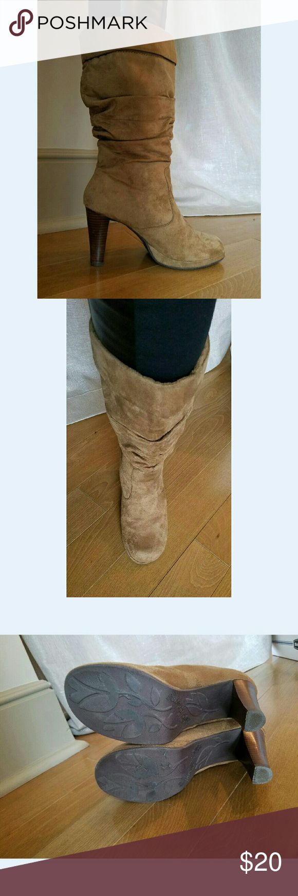 Somethin Else from Skechers Camel Slouch Boots Very cute boots - worn twice - faux suede upper - size 8 - heel is 3.5 inches high and there is a 1/4 inch platform in the front -rounded toe - from the top of the heel in the back to the top of the boot is 11 inches. I ordered these online from Victoria's Secret. The color is like the first three picks the one with the Buckle is much lighter I just wanted to show the Buckle detail. No trades please. Somethin Else from Skechers Shoes Platforms