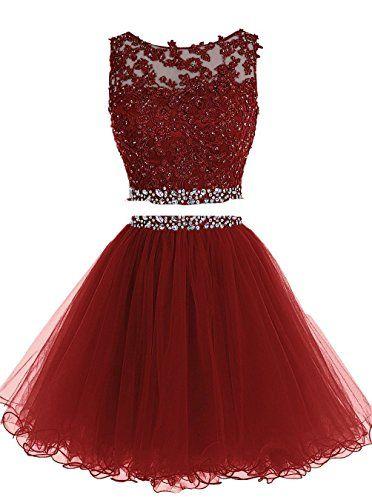 Hermoso vestido color bordo corto en dos partes con encaje brilloso sin mangas ;) Especial para una fiesta u ocasión especial