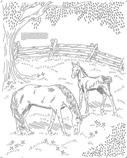 Horses In A Meadow By Love To Sew Via Flickr Coloring Meadow Coloring Page
