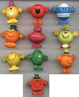 -Mr Mischief -Mr Noisy -Mr Bump -Mr Clever -Mr Greedy -Mr Funny -Mr Happy -Mr Nosey -Mr Cheerful -Mr Chatterbox -Mr Strong
