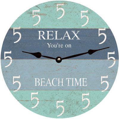 Five O Clock Somewhere Beach Clock  All clocks are made to order in my studio in rural Ohio. 5 sizes are available. Only the best quartz clock