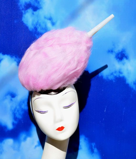 Pale Pink Cotton Candy Costume Light Up Hat by FabHatters on Etsy