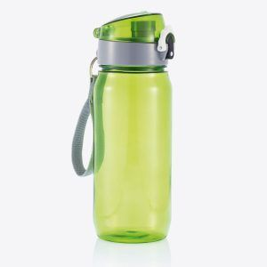 PromoBrand-Promotional Tritan Sports Bottle With Carry Strap. This 600ml Tritan bottle features a lockable cap and press open function. Available in the following colours black/grey, green/grey/ or blue/grey.  Sports bottles made a popular choice when it comes to promoting your company brand at sporting events, gyms, health resorts, fitness clubs, schools, and colleges.