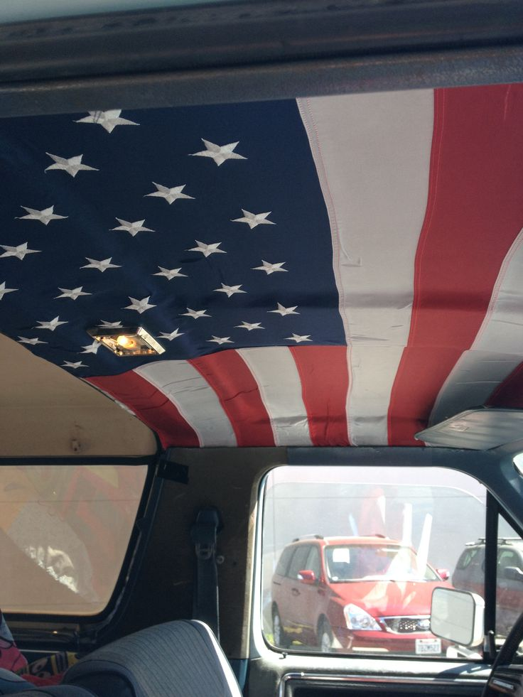 i made a custom headliner for my truck today to show my patriotism 1 flag 1 can of spray. Black Bedroom Furniture Sets. Home Design Ideas