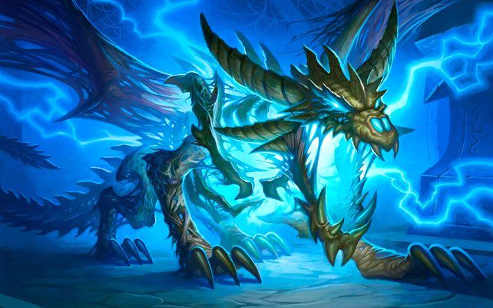 Download imagens dragão, 4k, arte, raio azul