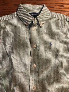 Polo, Ralph Lauren Boys Size 6 Green, White Striped Seersucker Shirt  | eBay