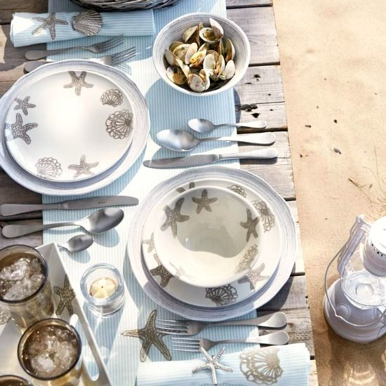 Coastal Beach Dinnerware & Entertaining. Lovely & Sandy! Featured on BBL: http://beachblissliving.com/melamine-dinnerware-outdoor-seaside-collection/
