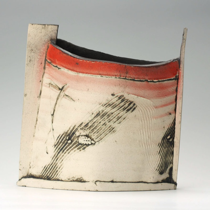 John Higgins - unglazed ceramic vessel made using a mixture of Crank and Scarva hand building material, the colours are slip, copper oxide, and underglaze colours