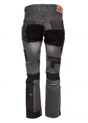 Junya Watanabe Multi Patchwork Denim Jeans Grey/Black