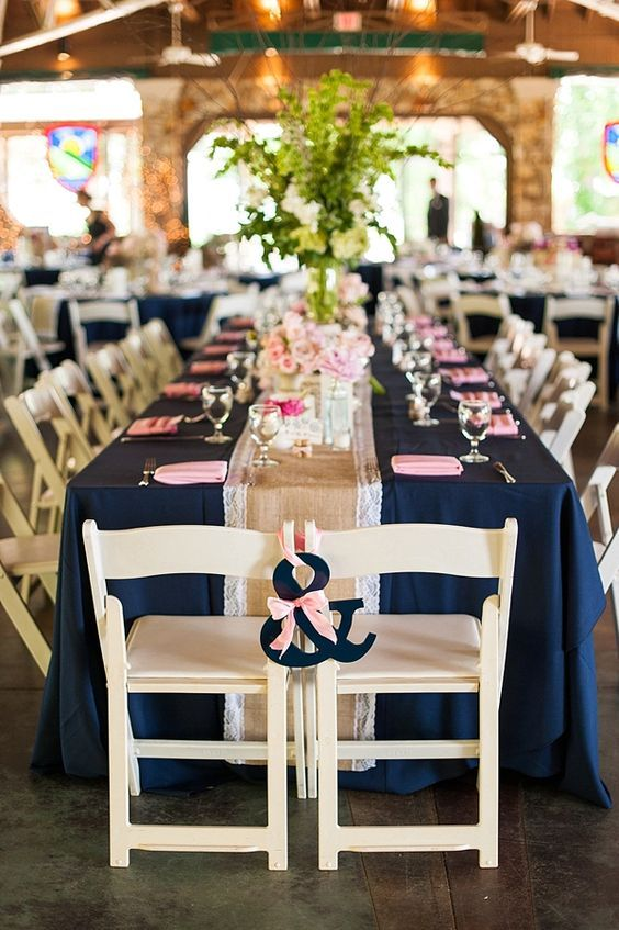 blush pink and navy wedding reception decor / http://www.himisspuff.com/blush-navy-and-gold-wedding-color-ideas/