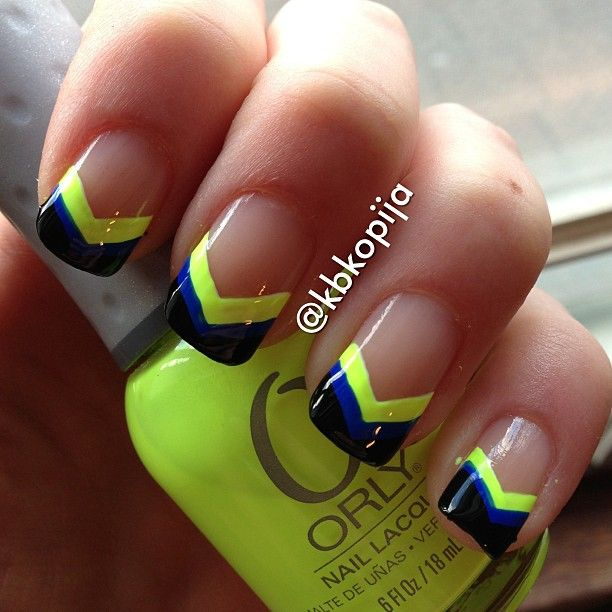 chevron tips nail art in black, neon yellow (Orly glowstick) and Essie butler please