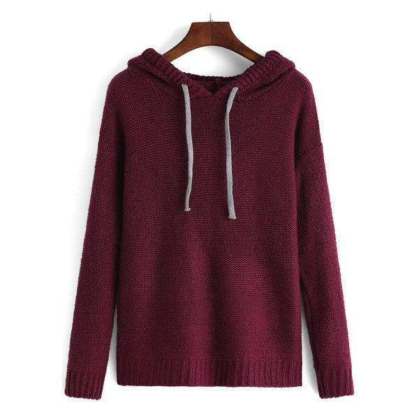 Hooded Drawstring Maroon Sweater ($21) ❤ liked on Polyvore featuring tops, sweaters, maroon sweater, purple sweater, hooded top, purple top and drawstring top