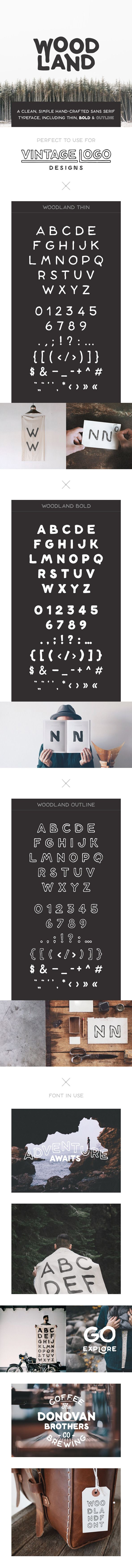 Woodland is a simple and clean hand-crafted sans serif typeface, including three weights: thin, bold and outline. Download: http://graphicriver.net/item/woodland-font/10593502?ref=ksioks