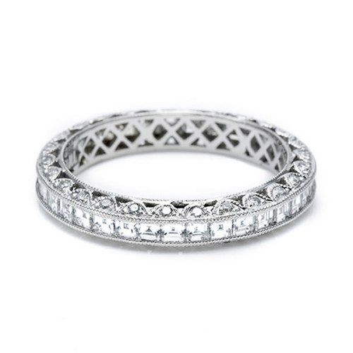 Platinum And Diamond Straight Eternity Band Pictured With Square Channel Set Diamonds Around The Round Pave Accent Crescent