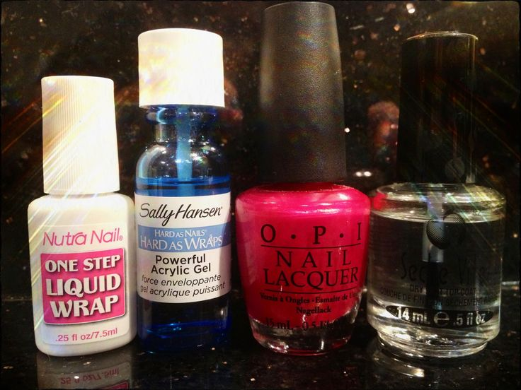 Nails!!! The perfect nails (DIY Shellac at home) You can purchase every polish at your local Sally's, Target, Meijer ect.      *  Nutra Nail one step liquid wrap (1 coat to bond polish to nail)      *  Sally Hansen hard as wraps powerful acrylic gel (2 coats)      * Any nail color you choose (2 coats)      * Seche Vite top coat (1 coat to nails, make sure  nail polish Is still wet before applying this top coat, it needs to bond to color for full  effect.