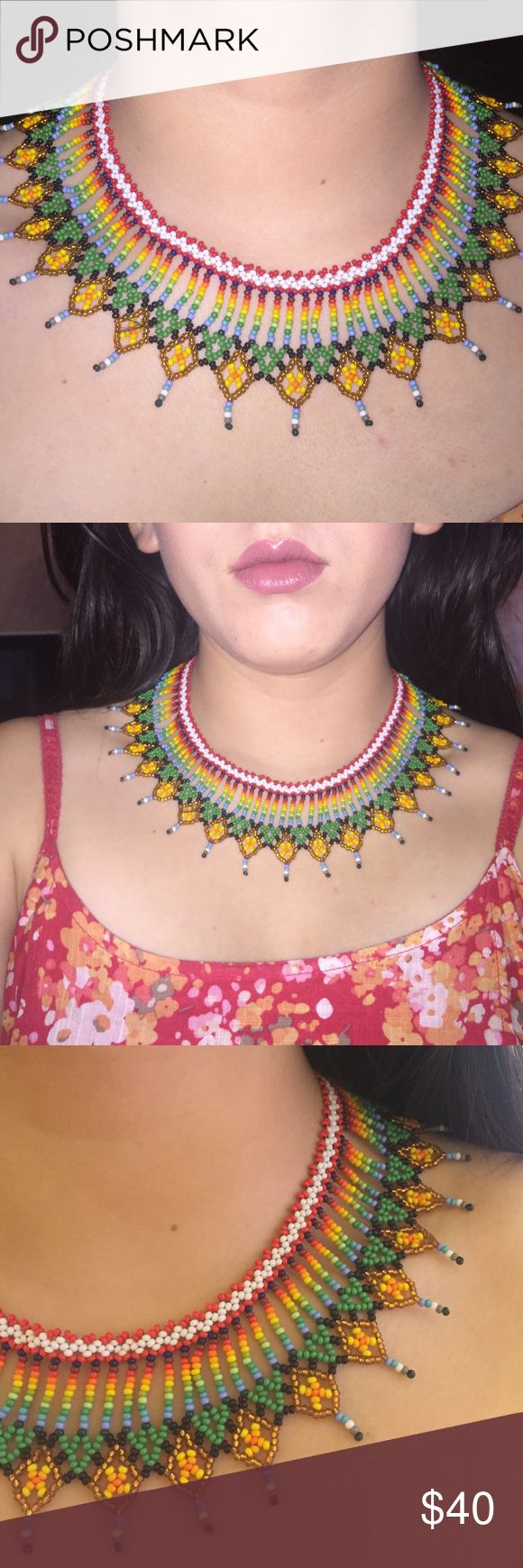 HP🌺🌺🌺Handmade Necklace from Colombia Incredible, eye-catching and unique. Handmade elaborate necklace imported from Colombia. Perfect for a music festival or a tribal outfit! Handmade Jewelry Necklaces