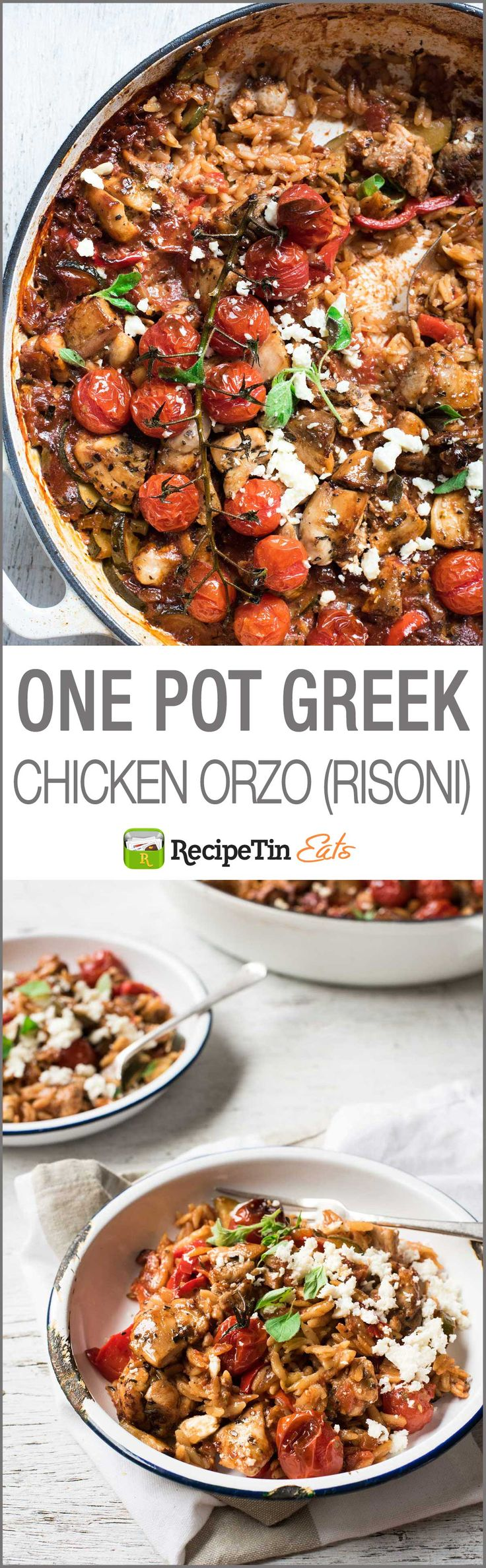 One Pot Greek Chicken Orzo (Risoni) - Al made in one pot, a saucy tomato sauce loaded with Greek flavors!