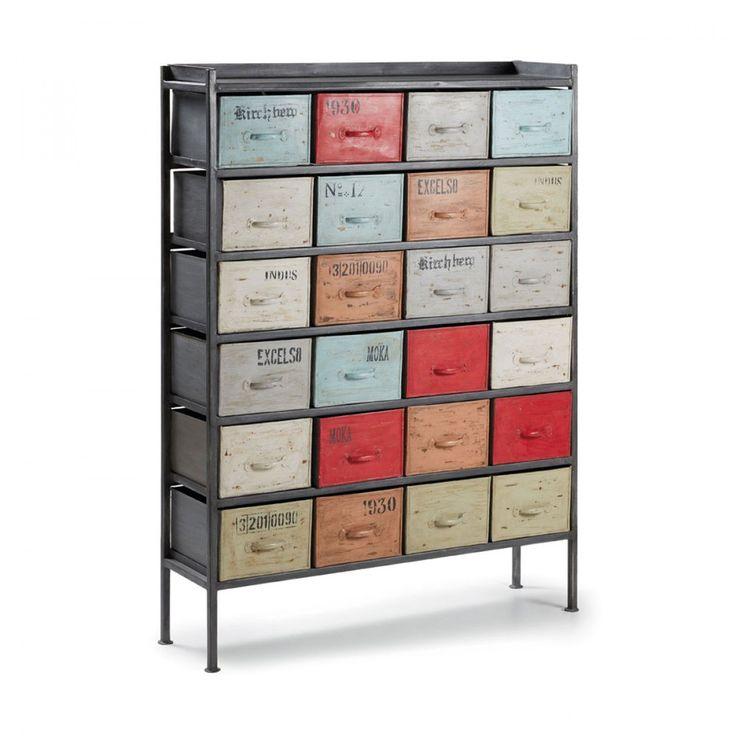 Meuble de rangement semainier industriel 24 tiroirs Keywest de profil