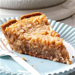 Coconut Eggnog Pie Recipe -This easy recipe became a family favorite by happy accident. I was trying to use up extra eggnog and coconut from other holiday baking—and they are so good together. —Fay Moreland, Wichita Falls, TX
