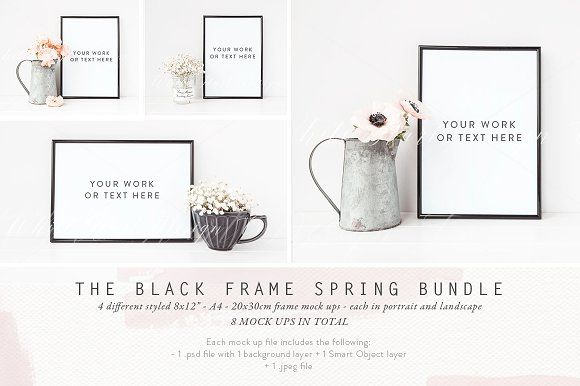 BLACK FRAME SPRING BUNDLE by White Hart Design Co. on @creativemarket