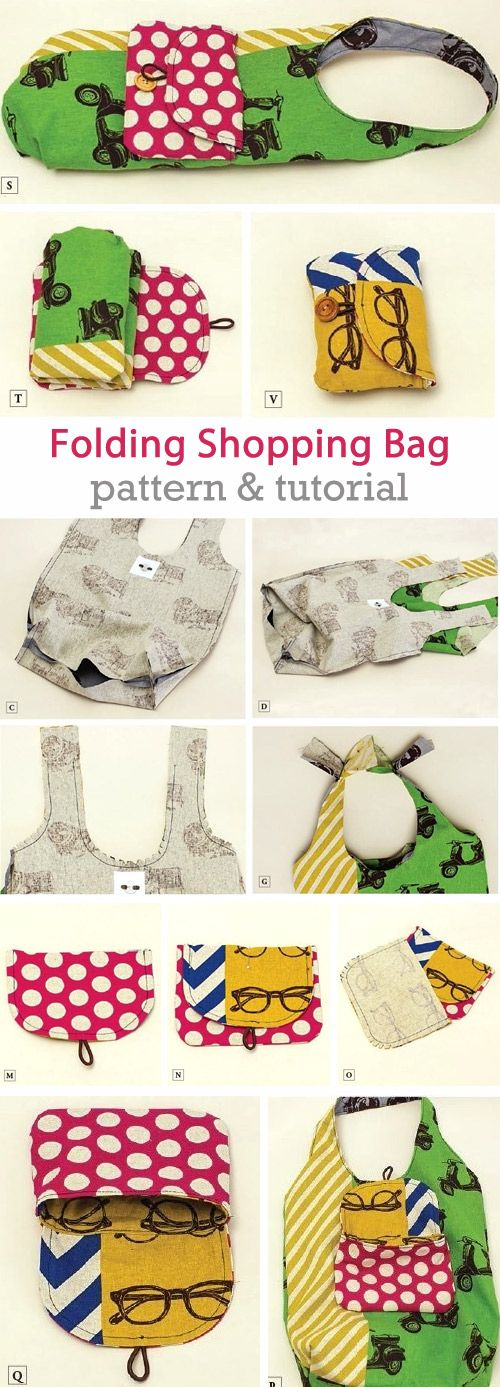 Folding Shopping Bag and Pouch. DIY Tutorial Pattern  http://www.handmadiya.com/2015/07/market-bag-and-pouch.html