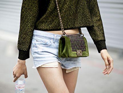 Green. Chanel. Denim.
