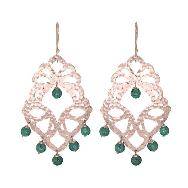 Nicole Fendel Elektra Statement Earrings - Green Turquoise - Rose Gold