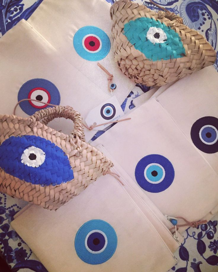 evileye pochettes and mini straw  baskets by cottonprince.gr