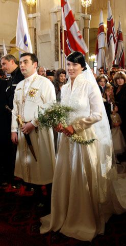 Prince David Bagrationi-Mukhraneli, 32, and Princess Anna Bagrationi-Gruzinsky, 31, are seen during their wedding ceremony in the capital of Georgia, Tbilisi, Sunday, Feb. 8, 2009. The Spanish-born head of the Georgian Royal Family that once ruled the Caucasus nation and the princess from a Bagrationi dynasty's branch were wed in Tbilisi.