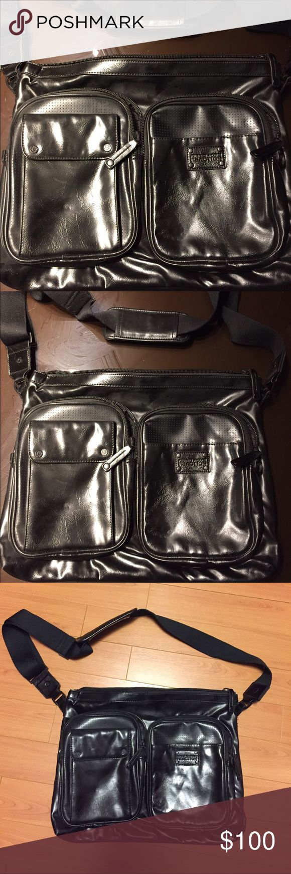 Black leather messenger bag Black leather messenger bag with adjustable shoulder strap. Purchased from the men's department and used as a laptop bag for a conference. Only used once so in almost new condition. Kenneth Cole Reaction Bags Messenger Bags