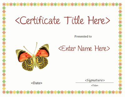 Blank certificate with a butterfly graphic. Use for any ...