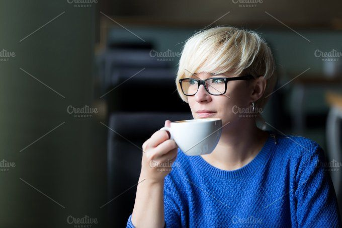 young pretty blonde drinking coffee by Izdebska on @creativemarket