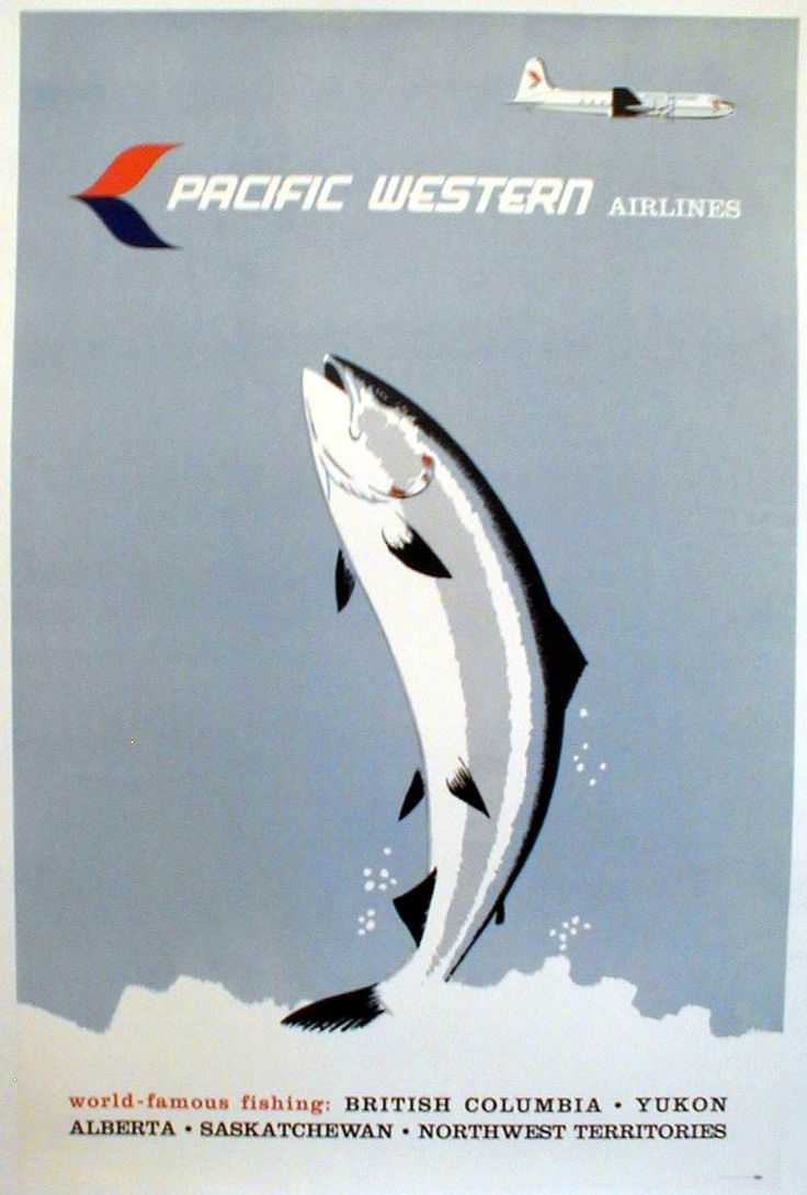 Pacific Western Airlines - Vintage Travel Poster1950s