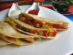 Quesadillas de pollo y verduras