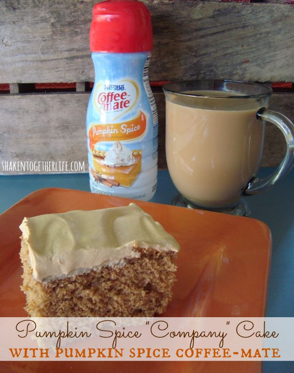 Rich pumpkin spice cake recipe with Coffee-mate Pumpkin Spice creamer at shakentogetherlife.com