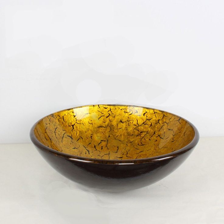 Shiny Foil Antique Gold Bowl Shape Tempered Glass Bathroom Countertop Basin and Popup Waste - Taps
