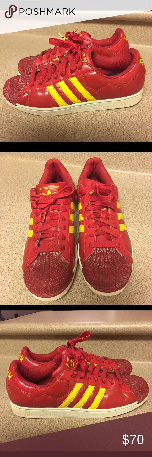 Adidas Superstar 2 World Cup Red/Yellow Men's 11.5 Pre-Owned Adidas Superstar 2 World Cup Red/Yellow Men's 11.5 Rare adidas Shoes Sneakers