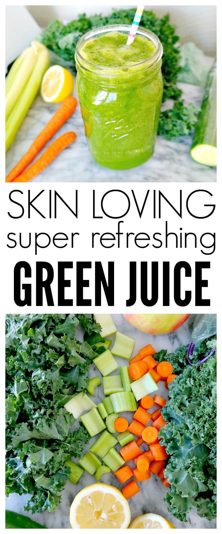 Skin Loving, Super Refreshing Green Juice Recipe. Vegan and Plant Based. Hydrating, energizing and packed with nutrients like turmeric for beautiful skin. Perfect for green juice beginners or green lovers alike! From The Glowing Fridge. #vegan #green #juice