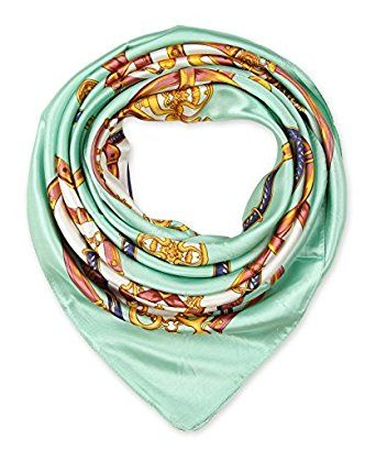 "corciova Elegant Women's Neckerchief Silk Feeling Satin Square Scarf Wrap 35"" Cambridge Blue $9.99 Free Shipping"