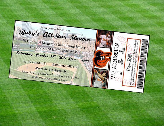 Baltimore Orioles Inspired MLB Baseball Ticket Baby Shower